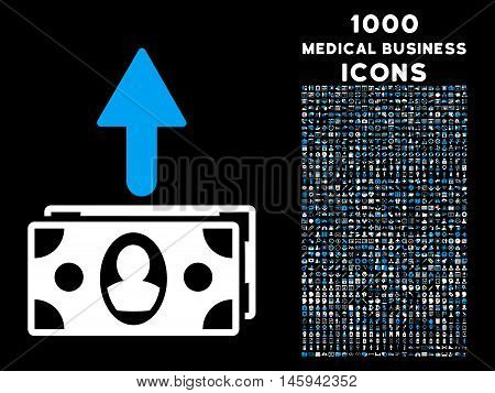 Spend Banknotes vector bicolor icon with 1000 medical business icons. Set style is flat pictograms, blue and white colors, black background.