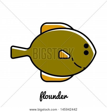 Line art flounder icon. Isolated vector illustrations. Infographic element