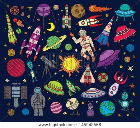 Set of cute hand drawn space objects: stars rockets planets moon sun etc. Hand-drawn vector collection