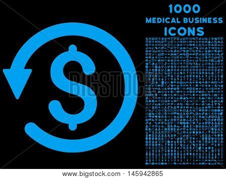 Chargeback vector icon with 1000 medical business icons. Set style is flat pictograms, blue color, black background.