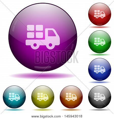 Set of color transport glass sphere buttons with shadows.