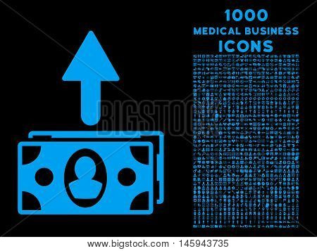 Spend Banknotes vector icon with 1000 medical business icons. Set style is flat pictograms, blue color, black background.