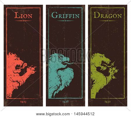 Vector set vintage posters with lion griffin and dragon