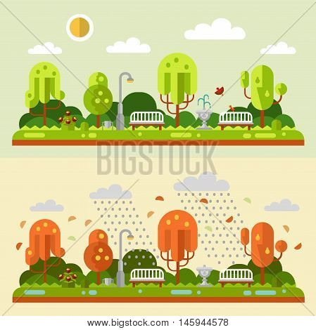 Flat design vector nature summer and autumn landscapes illustrations of park. Including bench, lantern, fountain, rain, puddle, birds, leaf fall, trees, bush with flowers, sun.