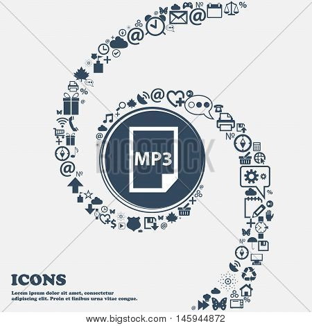 Mp3 Icon In The Center. Around The Many Beautiful Symbols Twisted In A Spiral. You Can Use Each Sepa