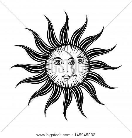 sun moon face mystic astrology mythological symbol vector illustration