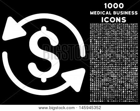 Money Turnover vector icon with 1000 medical business icons. Set style is flat pictograms, white color, black background.