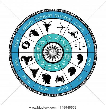 signs of the zodiac circle astrological astronomy future vector illustration
