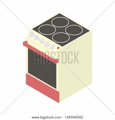 Modern electric cooker icon in cartoon style on a white background vector illustration