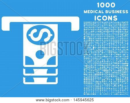 Banknotes Withdraw vector icon with 1000 medical business icons. Set style is flat pictograms, white color, blue background.