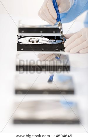 Computer Engineer Repair Hard Disc Defect, Sterile