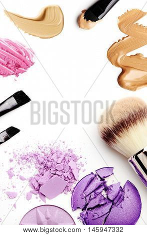 make-up products color sample isolated on white. frame background