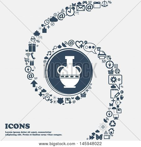 Amphora Icon In The Center. Around The Many Beautiful Symbols Twisted In A Spiral. You Can Use Each