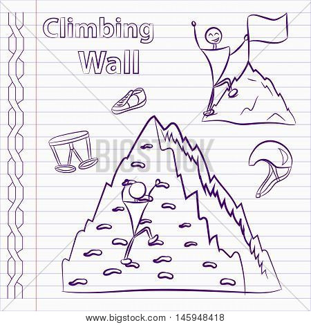 Hand drawn climbing wall icons. Climbing wall icons.