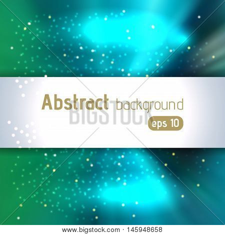 Abstract Artistic Background With Place For Text. Color Rays Of Light. Original Sparkle Design. Gree