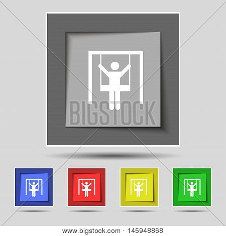 Child Swinging Icon Sign On Original Five Colored Buttons. Vector