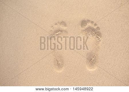 Woman Footprints In The Sand. A Row Of Footprints In The Sand On A Beach In The Summertime, Near The