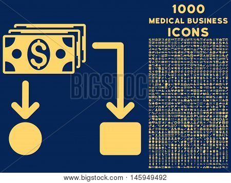 Cashflow vector icon with 1000 medical business icons. Set style is flat pictograms, yellow color, blue background.