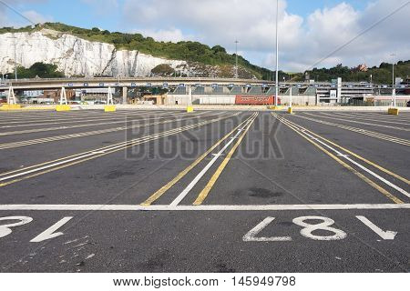 Dover, Kent, England, August 10 2016: Empty Lanes At The Embarkation Point For The Cross Channel Fer
