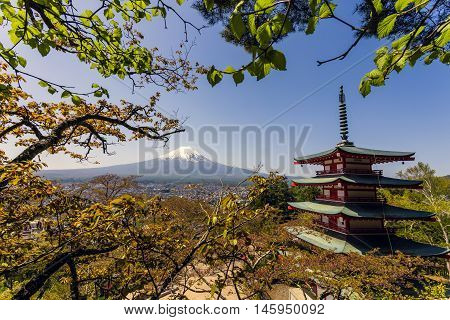 Mt. Fuji with red Chureito pagoda in Fujiyoshida, Japan