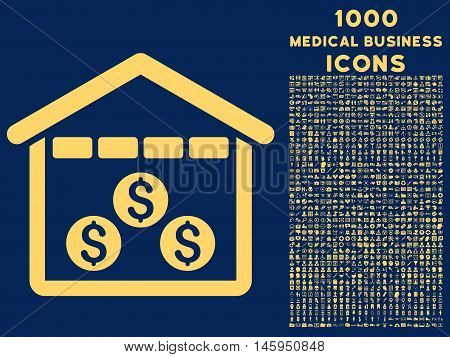 Money Depository vector icon with 1000 medical business icons. Set style is flat pictograms, yellow color, blue background.