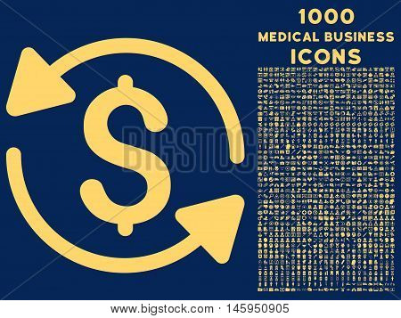 Money Turnover vector icon with 1000 medical business icons. Set style is flat pictograms, yellow color, blue background.