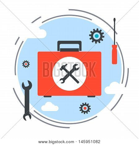 Maintenance service and technical support, help service flat design style vector concept illustration