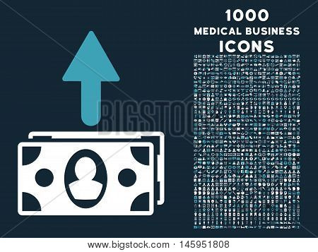 Spend Banknotes vector bicolor icon with 1000 medical business icons. Set style is flat pictograms, blue and white colors, dark blue background.