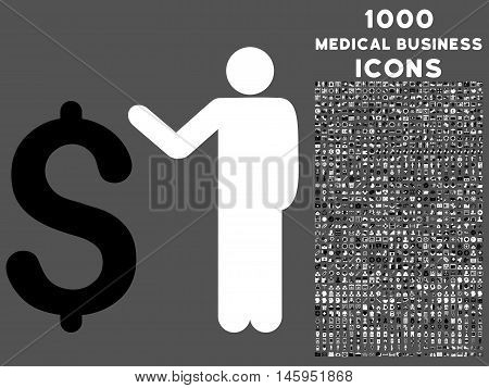 Banker vector bicolor icon with 1000 medical business icons. Set style is flat pictograms, black and white colors, gray background.
