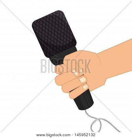 microphone hand journalist mic news  audio communication technology. Vector illustration