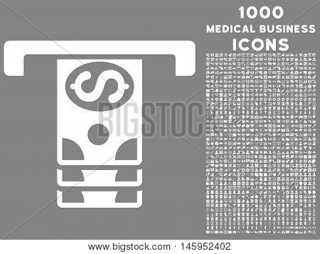Banknotes Withdraw vector icon with 1000 medical business icons. Set style is flat pictograms, white color, gray background.