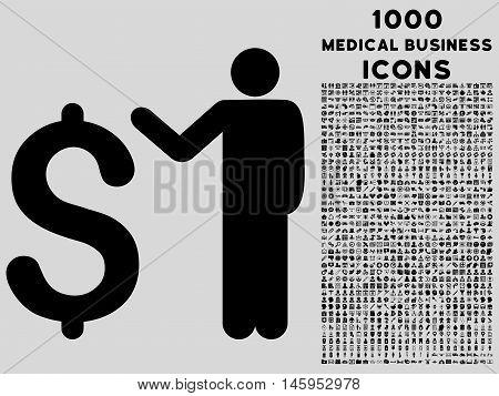 Banker vector icon with 1000 medical business icons. Set style is flat pictograms, black color, light gray background.