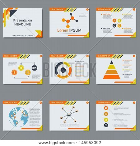 Business presentation, slide show vector design template. White background with orange, yellow and black geometric elements
