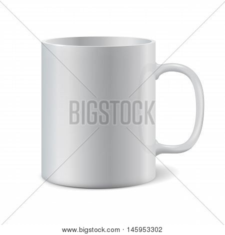 White ceramic mug for printing corporate logo. Cup isolated on white background. Vector 3D illustration
