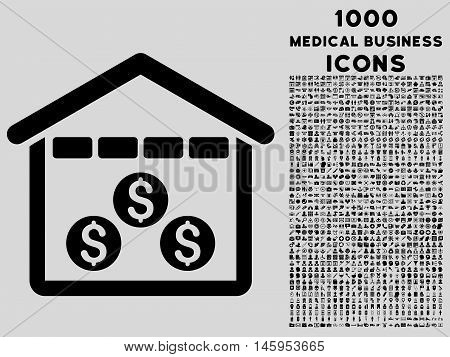Money Depository vector icon with 1000 medical business icons. Set style is flat pictograms, black color, light gray background.
