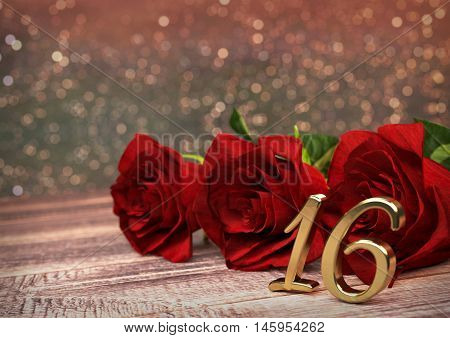 birthday concept with red roses on wooden desk. 3D render - sixteenth birthday. 16th