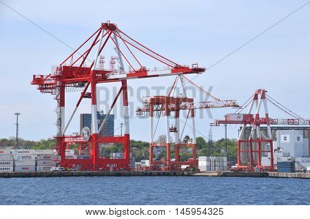 HALIFAX NOVA SCOTIA - JUNE 7, 2014: Halifax Harbour is a large natural harbour on the Atlantic coast of Nova Scotia, Canada, located in the Halifax Regional Municipality.