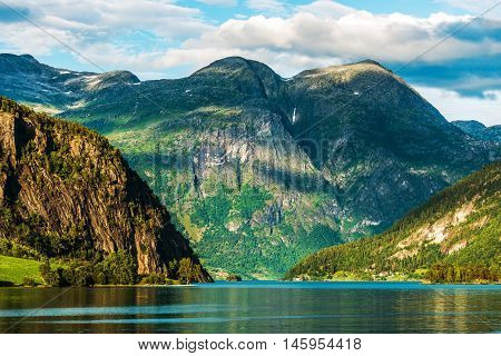Norwegian Scenic Landscape. Oppstryn Norway Scenic Glacial Lake in Summer.