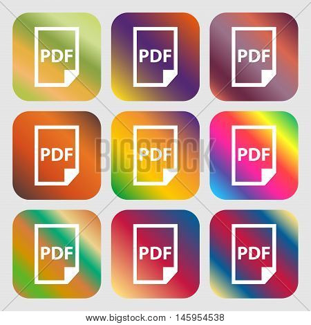 Pdf Icon. . Nine Buttons With Bright Gradients For Beautiful Design. Vector