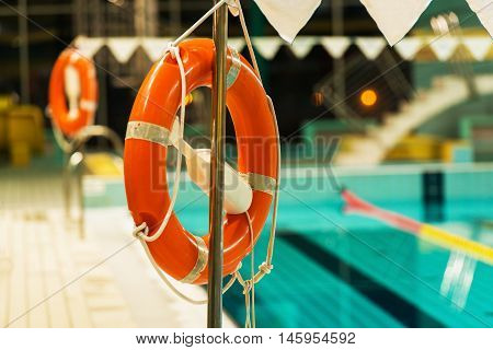 Swimming Pool Life Preservers. Swimming Pool Recreation Safety.