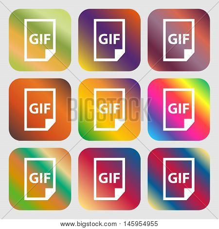 File Gif Icon . Nine Buttons With Bright Gradients For Beautiful Design. Vector