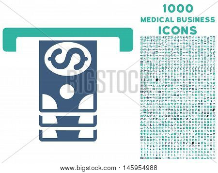 Banknotes Withdraw vector bicolor icon with 1000 medical business icons. Set style is flat pictograms, cobalt and cyan colors, white background.