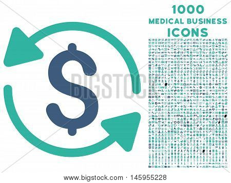 Money Turnover vector bicolor icon with 1000 medical business icons. Set style is flat pictograms, cobalt and cyan colors, white background.