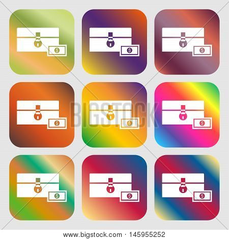 Chest Icon . Nine Buttons With Bright Gradients For Beautiful Design. Vector