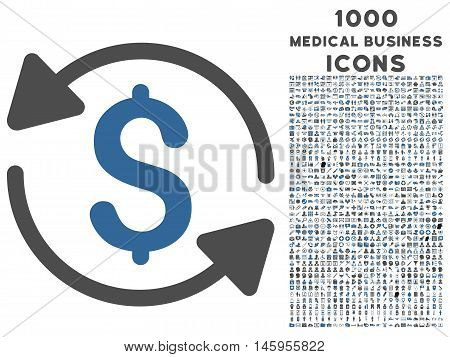 Money Turnover vector bicolor icon with 1000 medical business icons. Set style is flat pictograms, cobalt and gray colors, white background.
