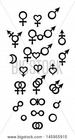 Biological Signs of the variety of sex, gender, relations, and Symbols of male and female. (Biology kind set).