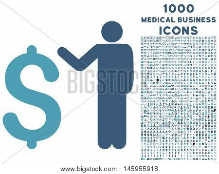 Banker vector bicolor icon with 1000 medical business icons. Set style is flat pictograms, cyan and blue colors, white background.