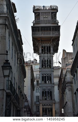 LISBON, PORTUGAL - AUG 21: Santa Justa Lift (Elevador de Santa Justa) in Lisbon, Portugal, as seen on Aug 21, 2016. The Lift is decorated in a Neo-Gothic style in iron.