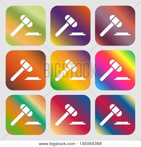 Judge Or Auction Hammer Icon . Nine Buttons With Bright Gradients For Beautiful Design. Vector