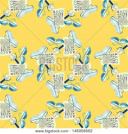 Seamless Pattern With Glasses Of View To Measure And Magnifying Glass On A Yellow Background. Vector
